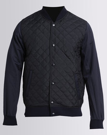 Soul Star Quilted Bomber Jacket Navy