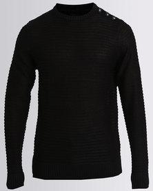 Soul Star Intrest Crew Knitwear Black
