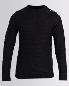 Soul Star Intrest Crew Knitwear Navy