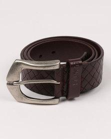 Soviet Vesta Leather Belt Burgundy