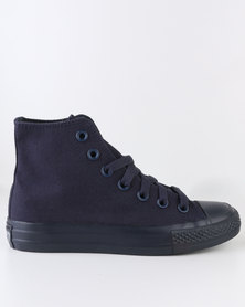 Soviet Viper Mono Casual Lace Up High Top Canvas Sneaker Navy