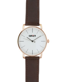 Soviet Gents Leather Strap Watch with Big Dial Brown