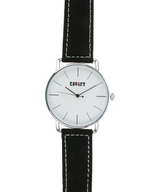 Soviet Gents Leather Strap Watch with White Dial Black