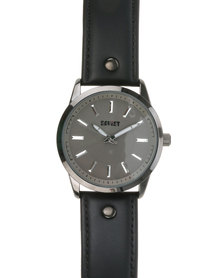 Soviet Gents Leather Strap Watch Black