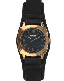 Soviet Gents Leather Strap Watch with Gold Dial Black