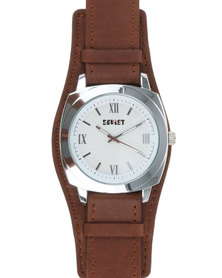 Soviet Gents Leather Strap Watch with Silver Dial Brown