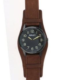 Soviet Gents Leather Strap Watch Bronze