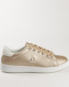 Soviet Kai Casual Low Cut Lace Up Sneaker Gold