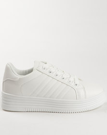 Soviet Raven Casual Lace Up Platform Sneakers White Mono