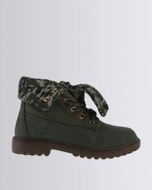 Soviet Combat Lace Up Ankle Boot With Fold Over Detail Olive