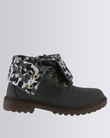 Soviet Combat Lace Up Ankle Boot With Fold Over Detail Charcoal