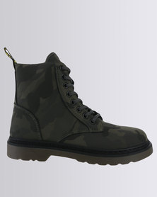 Soviet Libby Camo Casual Lace Up Military Ankle Boot Olive