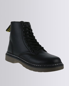 Soviet Libby Casual Lace Up Military Ankle Boot Black