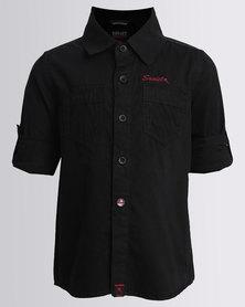 Soviet Boys Mani Long Sleeve Plain Roll Up Shirt Black