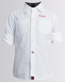 Soviet Boys Mani Long Sleeve Plain Roll Up Shirt White