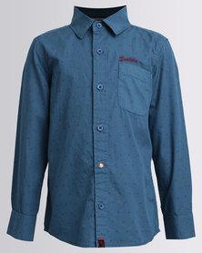 Soviet Boys Long Sleeve Dorian Printed Shirt Petrol Blue
