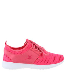 Soviet Low Cut Lace Up Mesh Sneakers Pink
