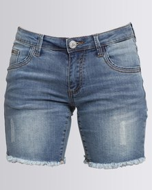 Soviet Elu Denim Shorts Raw Edge Hem Detail Blue