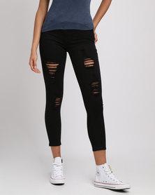 Soviet Kasa Rip & Repair Skinny Jeans Black