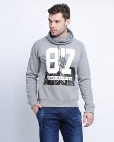 Soviet M Phil Sweatshirt With Knitted Snood Grey Melange