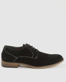 Soviet Hydra Casual Lace Up Suede Shoes With Rubber Sole Black