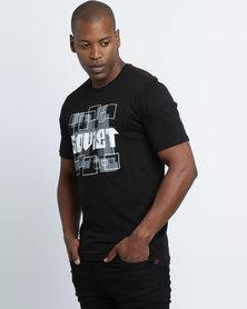 Soviet M Shaw Short Sleeve Print Shirt Black