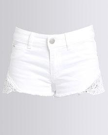 Soviet Miss Soviet Chepi Side Lace Inset Shorts White