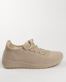 Soviet Willow Casual Low Cut Lace Up Knitted Sneaker Beige Mono