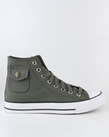 Soviet Westport Vulcanized High Cut Lace Up Canvas Shoe With Pocket Detail Olive