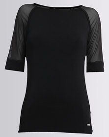 Soviet Danette Tee With 3/4 Mesh Sleeves Black