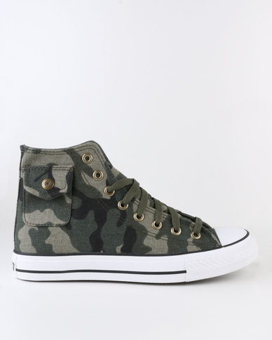 Soviet Westport Vulcanized High Cut Lace Up Canvas Shoe With Pocket Detail Camo