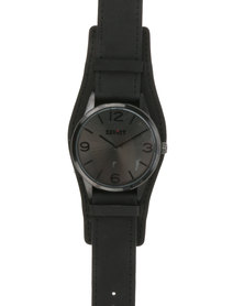 Soviet Gents Leather Strap Watch Black