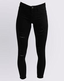 Soviet Kasa Skinny Rip & Repair Jeans Black