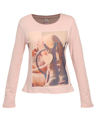 Soviet Miss Soviet Quest Long Sleeve Tee With Mesh Over Print Blush