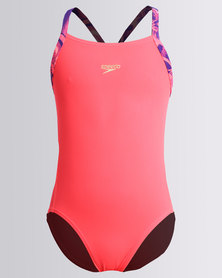 Speedo Solid Rippleback with Printed Straps Red