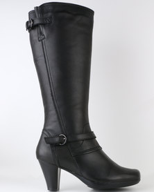 Step on Airs Tracy Leather Heeled Knee High Boots Black