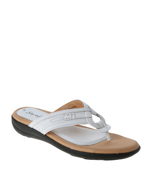 Step on Airs Nappa Leather Wedge Thong Sandal White