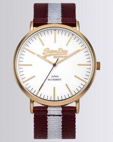 Superdry Oxford Stripe Nylon Watch Red/White