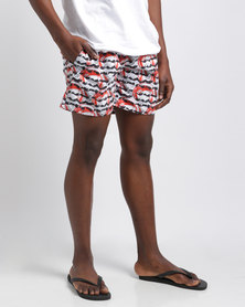 Temple of Reason Fire Swim Shorts Red