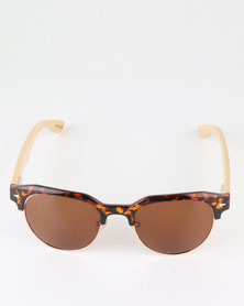 Thisguy. Bamboo Wood Clubmaster Polarized Lens Sunnies Brown