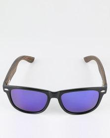 Thisguy. Ebony Wood Wayfarer Polarized Lens Sunnies Black