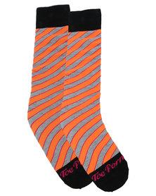 Toe Porn Mylie Stripe Socks Orange
