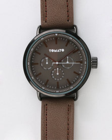Tomato Mens Round with Strap Watch Brown