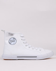Tomy Takkies S/Patch Hi Top White