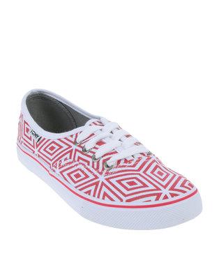 Tomy Takkies Ladies Geo Red and White