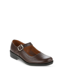 Toughees Ladies Basic Pearl School Shoes Brown