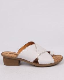 Tsonga Umdeni Leather Block Heel Sandal Var 004 White Cayak