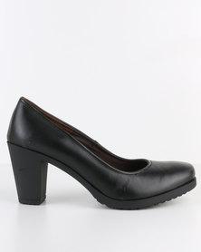 Tsonga Shumeka 002 Leather Mid Heel Court Shoe Black