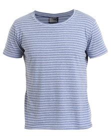 Unruly Linen Look Stripe Tee Dark Blue/White