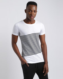 Unruly Diagonal Stripe T-Shirt White